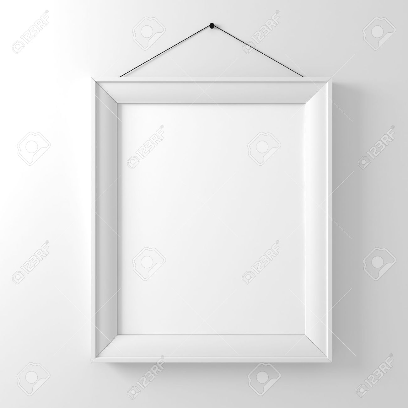 Blank Frame On White Wall Stock Photo, Picture And Royalty Free ...