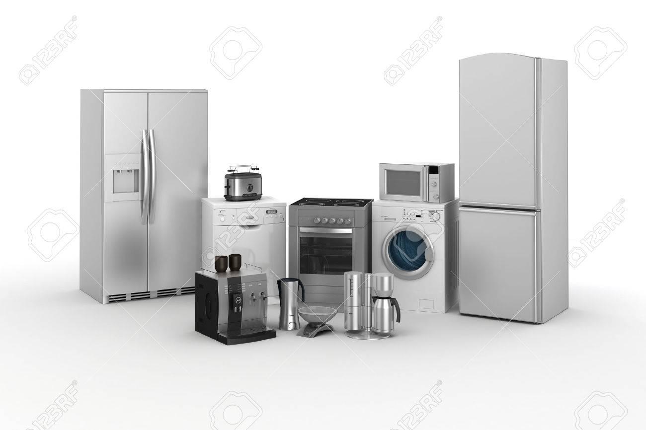 Of Kitchen Appliances 3d Render Of Household Appliances On White Background Stock Photo