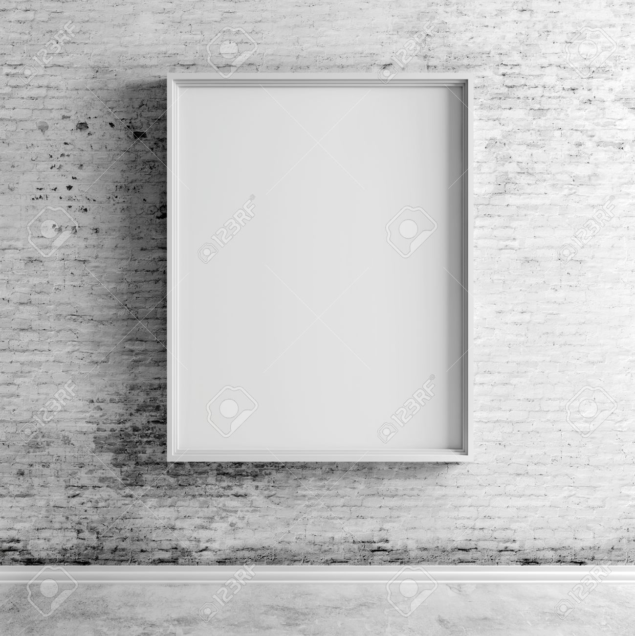 shadow box 3d blank frame on white vintage brick wall stock photo