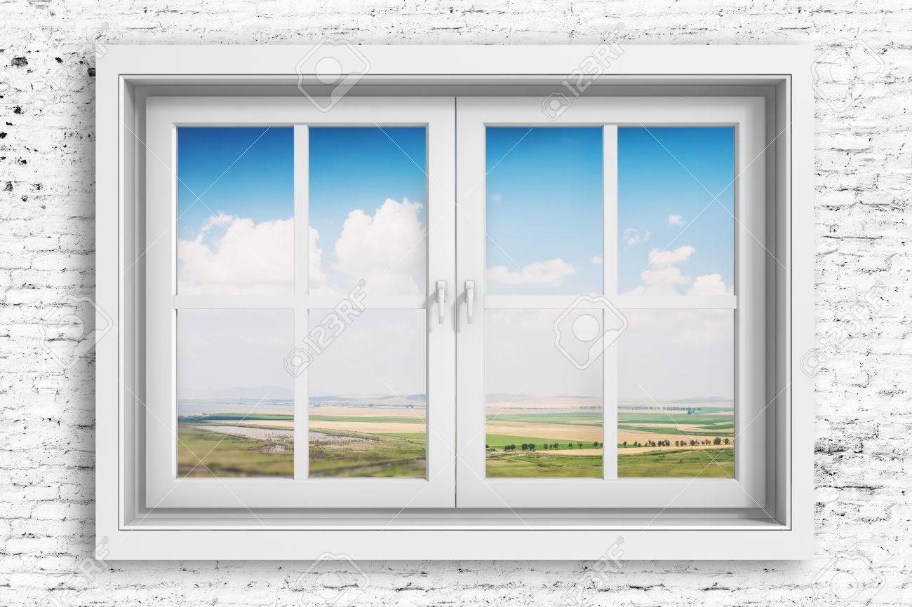 3d Fensterrahmen Mit Schönen Blauen Himmel Im Hintergrund ...