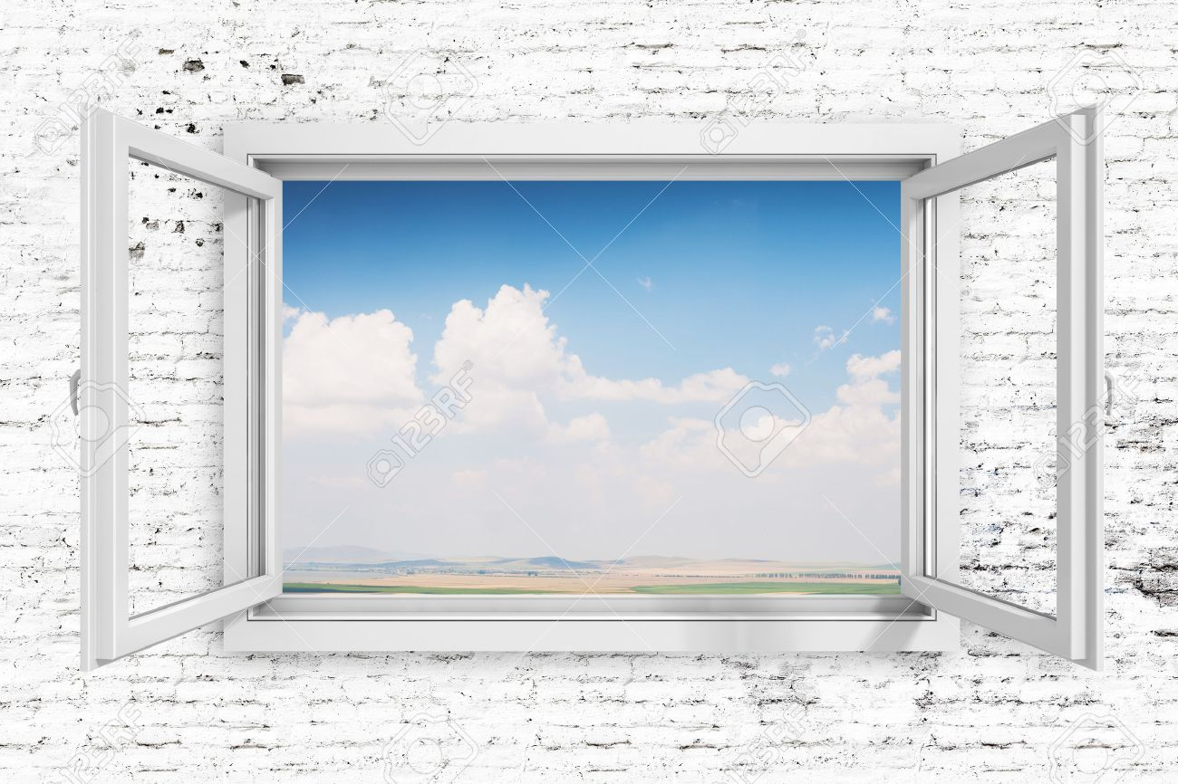 3d window frame with beautiful blue sky background stock photo - Window Picture Frame