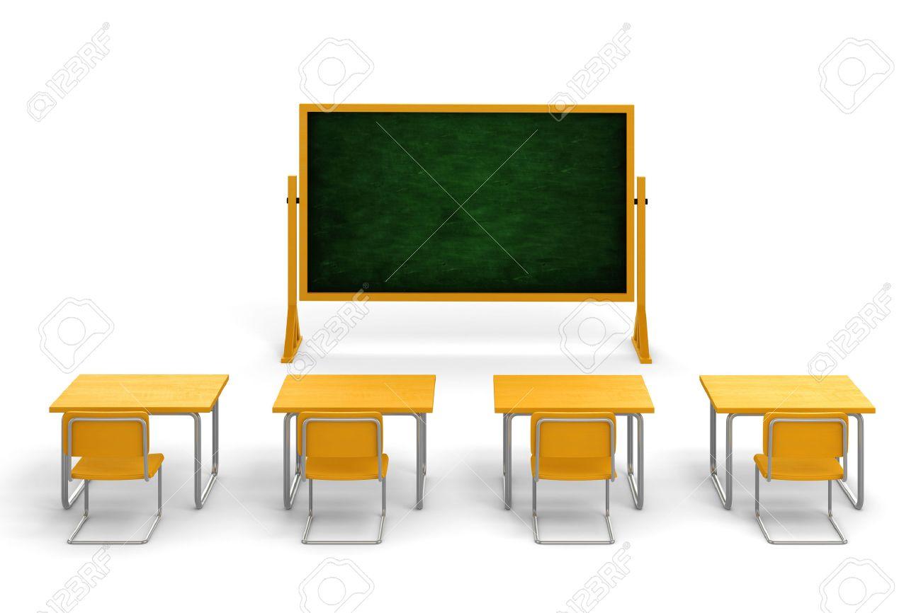 Empty cartoon classroom background - 3d Empty Classroom On White Background Stock Photo 35107663