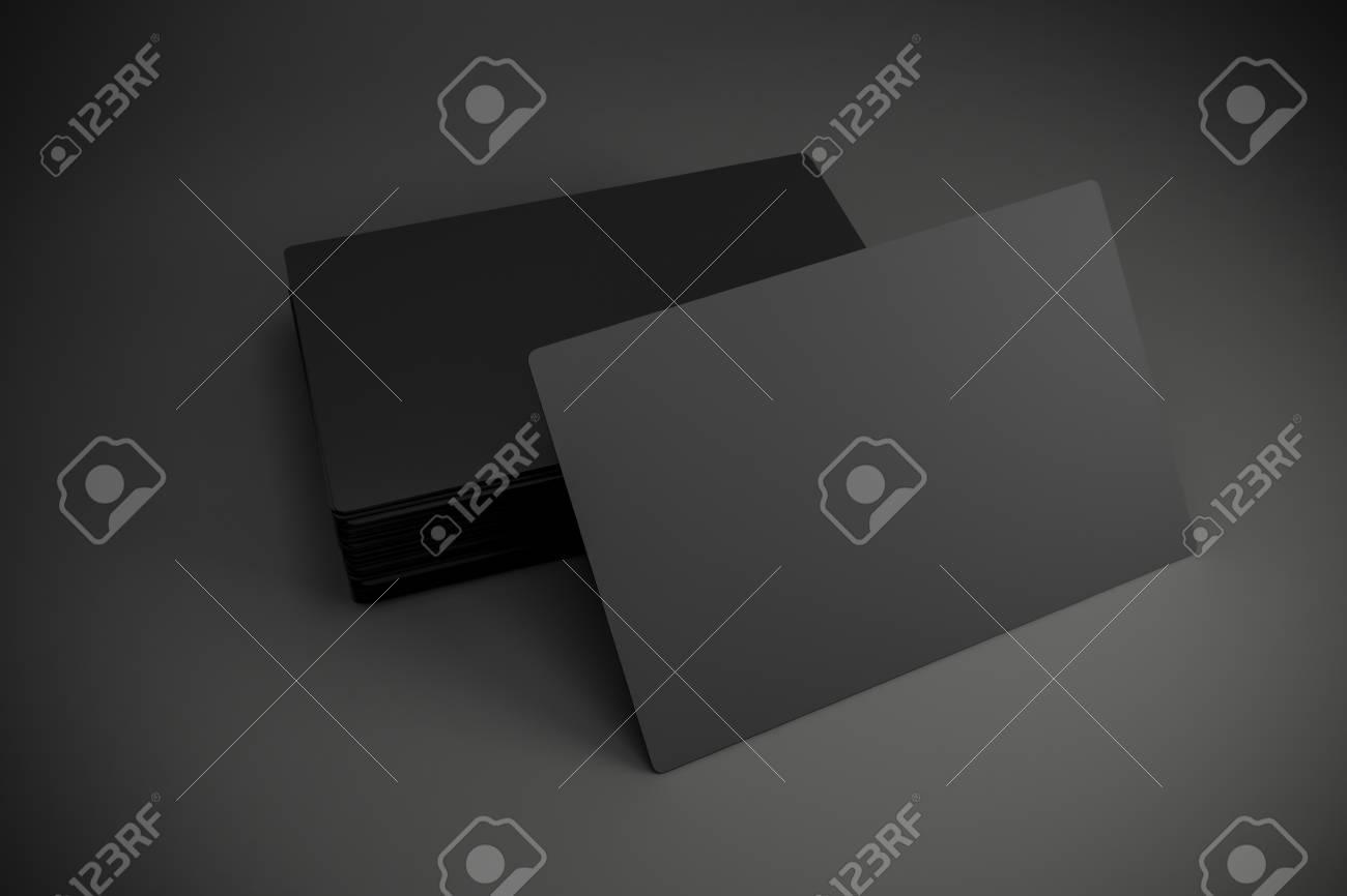 3d Blanc Cartes De Visite Noir Banque Dimages