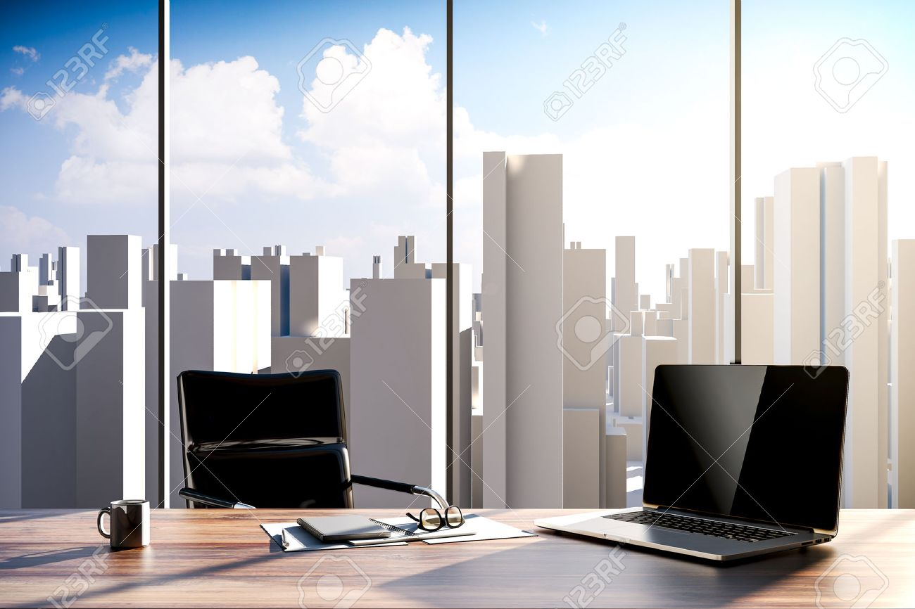 3d Office Workplace With City Skyline In The Background Stock