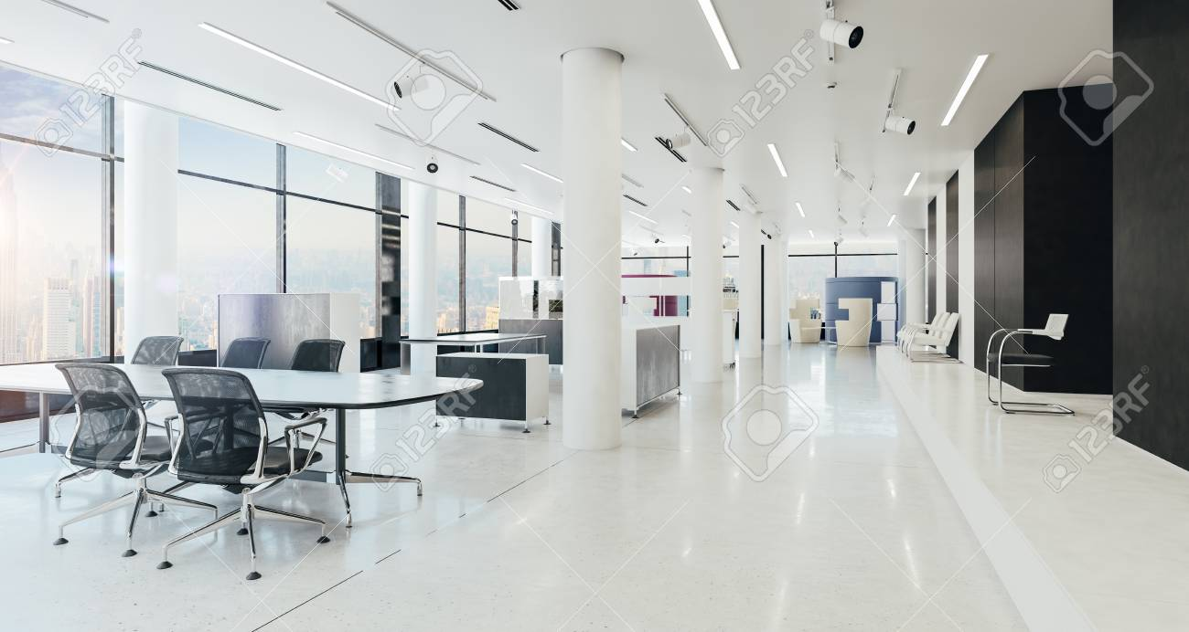 3d Modern Office Space Interior Render Stock Photo   80270427