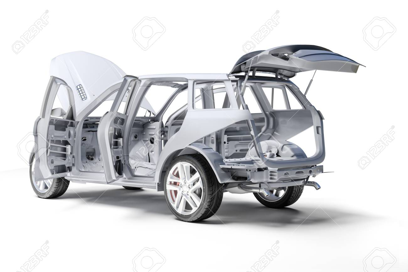 3d Car Frame Body On White Background Stock Photo, Picture And ...