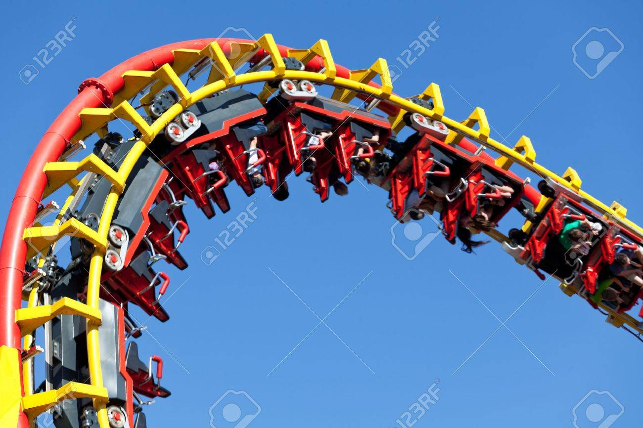 rollercoaster against blue sky - 13379935