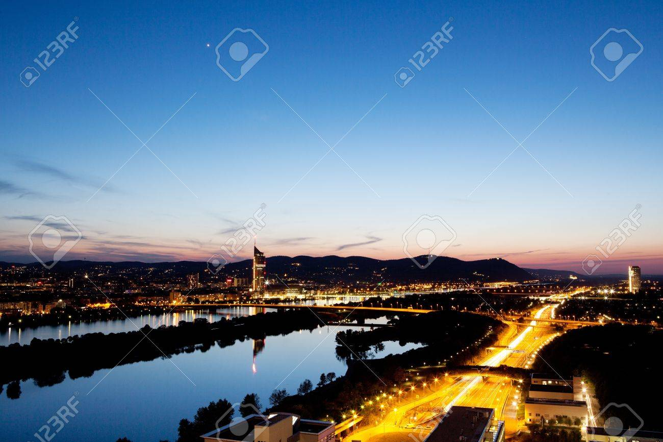 Vienna aerial view at dusk Stock Photo - 13559560