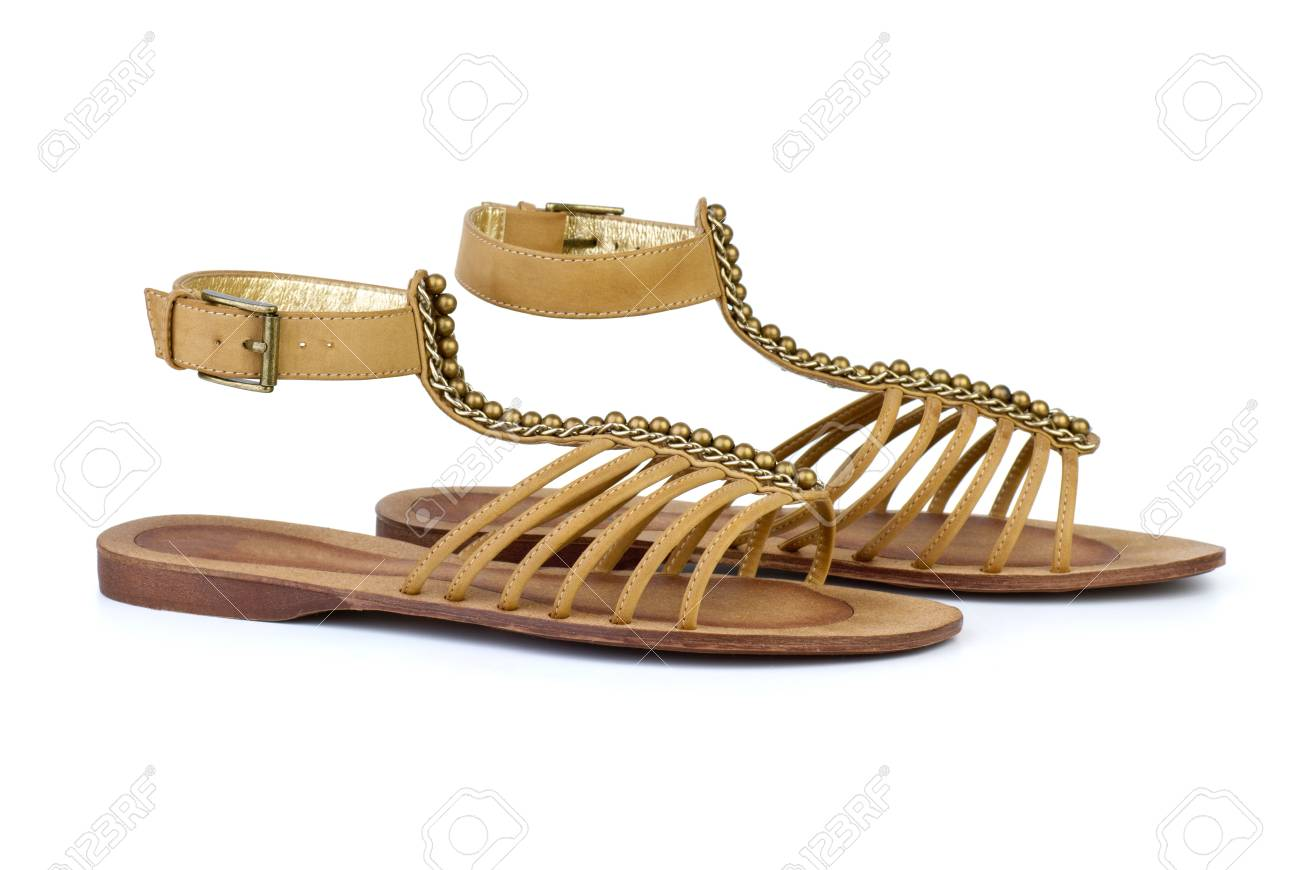 f1e17bed1d499 Pair of brown leather female sandals isolated on the white background Stock  Photo - 10693603