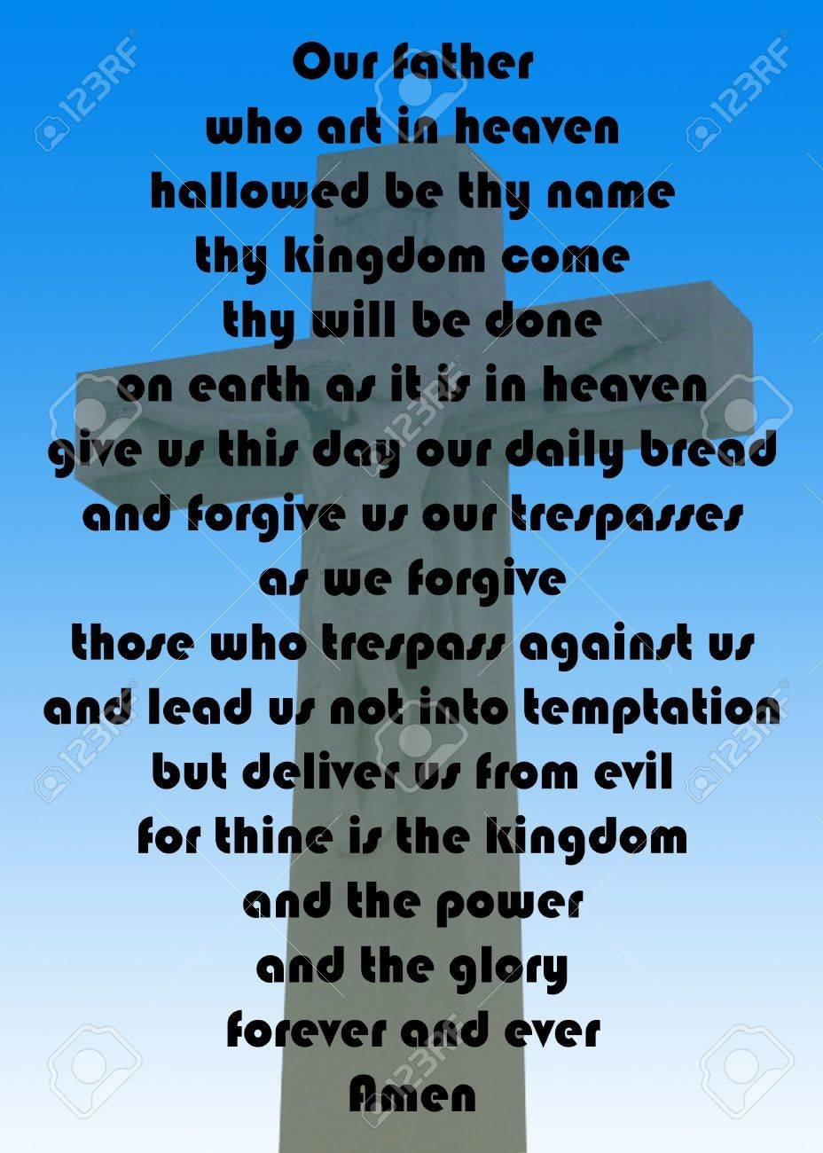 the lord u0027s prayer against a cross on a blue gradient background