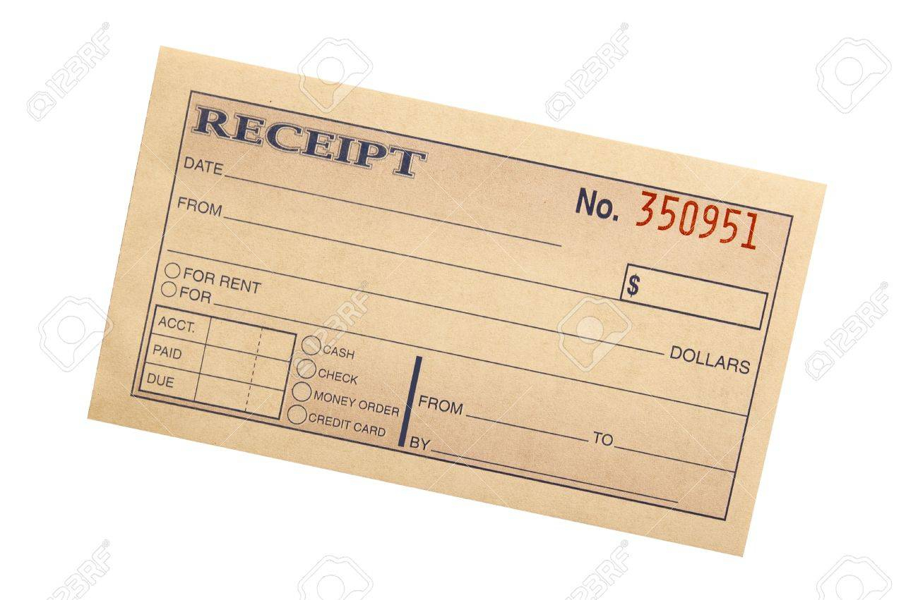 blank receipt on white with clipping path at original size stock
