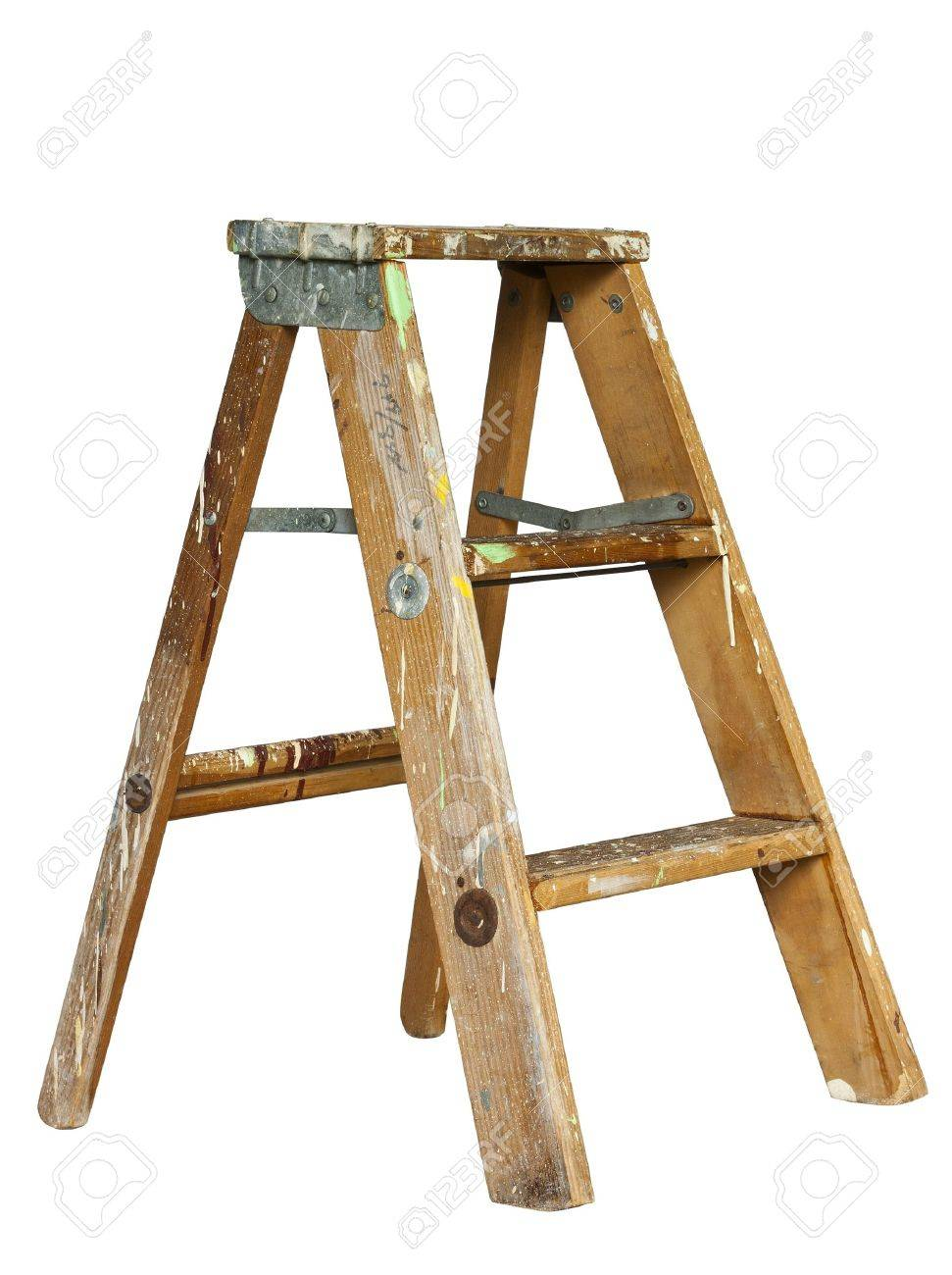 Kleine Trittleiter small stepladder isolated at original size stock photo picture and