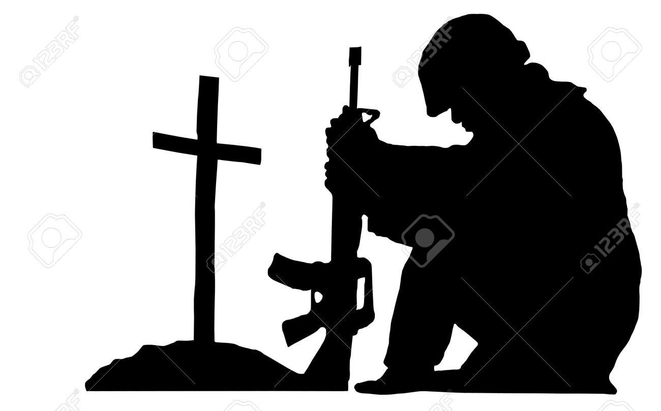 Silhouette Of A Soldier Kneeling Next To The Grave Of A Friend Stock Photo,  Picture And Royalty Free Image. Image 15511082.
