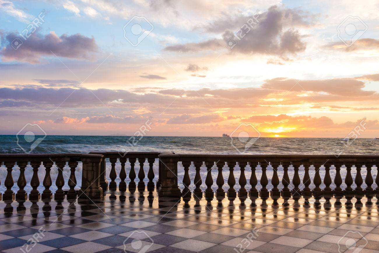 Terrazza Mascagni A Livorno At Sunset Stock Photo, Picture And ...