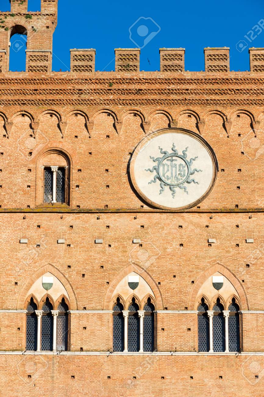Stock Photo - The town hall of siena (1297) is a palace in Siena, Tuscany,  central Italy