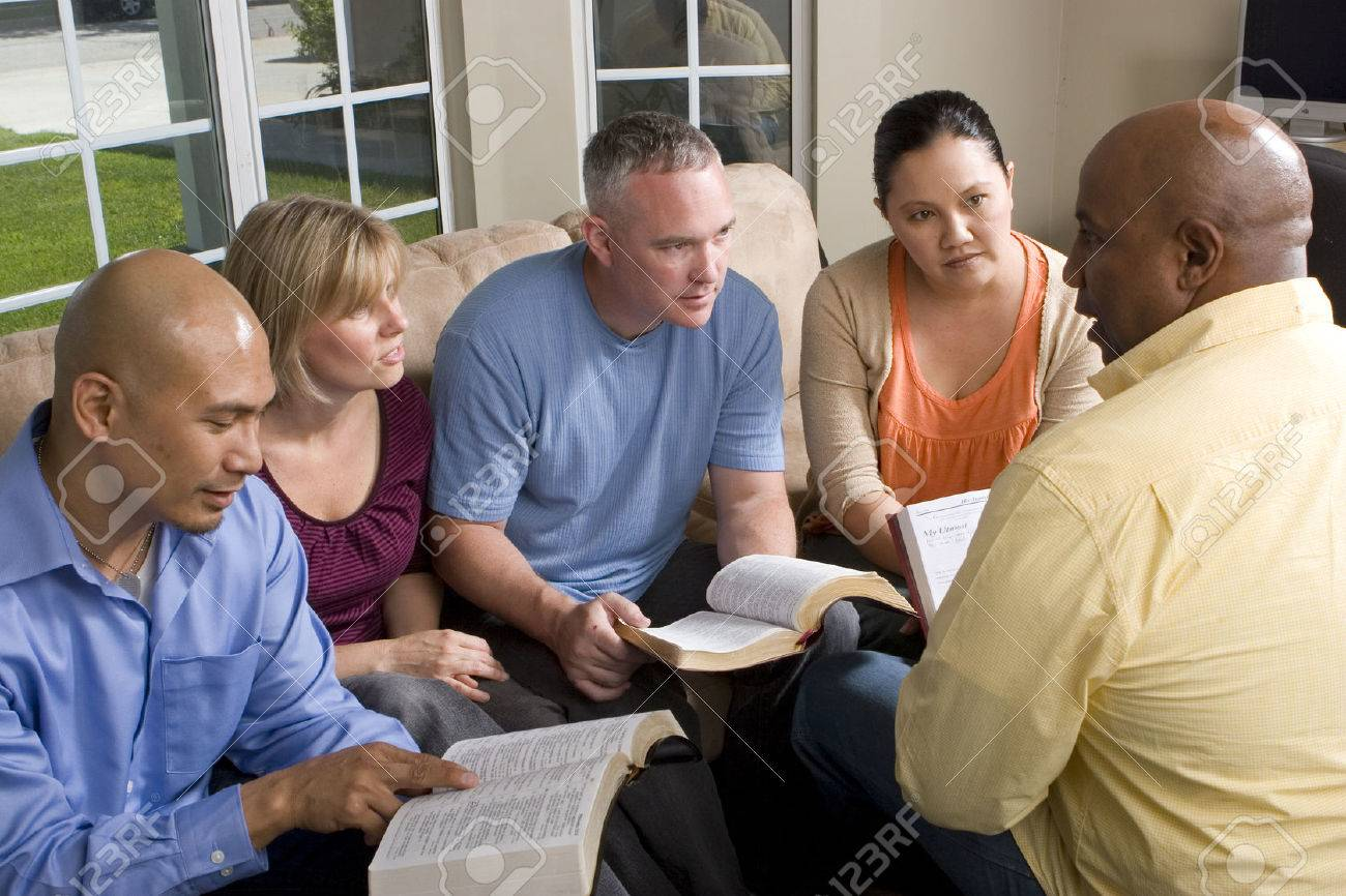Portrait Of Friends At Home Bible Study - 71641990