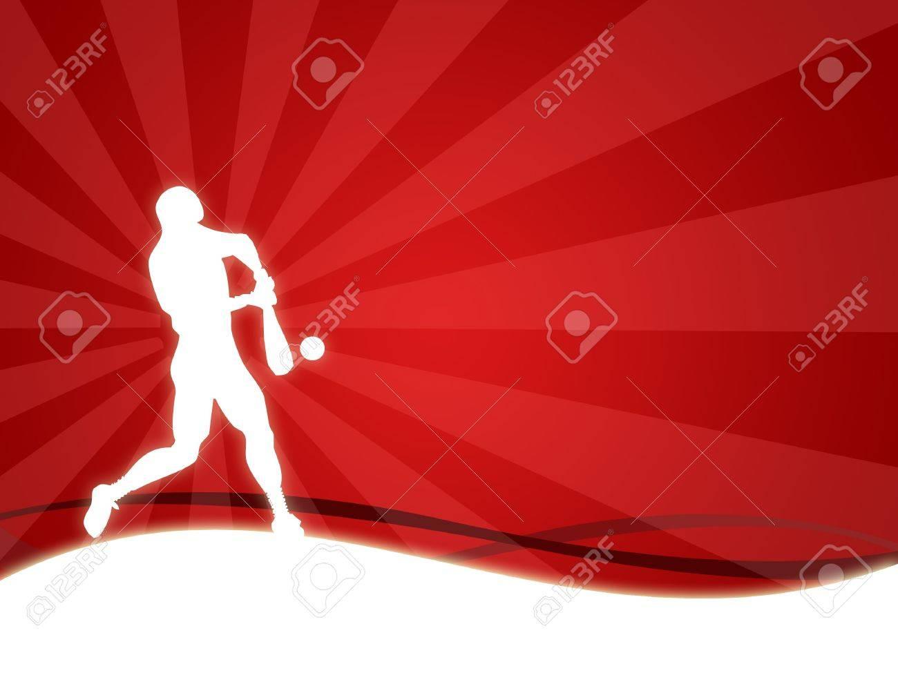 野球の男のシルエットの壁紙の背景 の写真素材 画像素材 Image