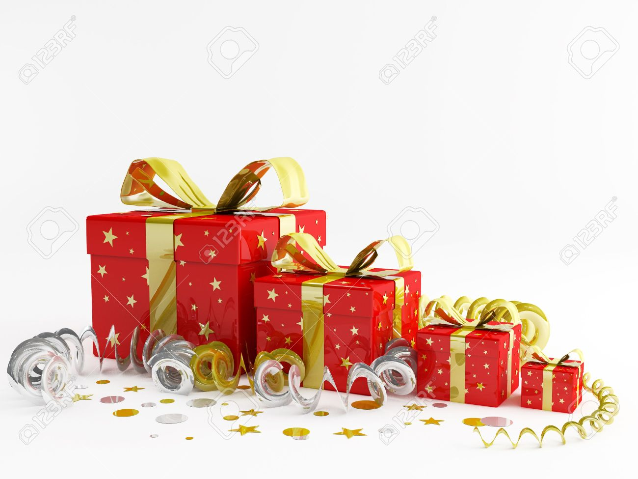 3d Render Illustration Of Decorations And Christmas Gifts Stock ...