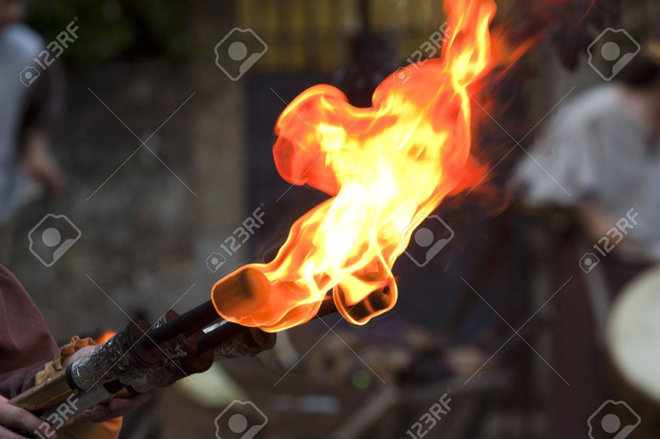 Medieval Fire Torch During The Rodemack Festival Stock Photo