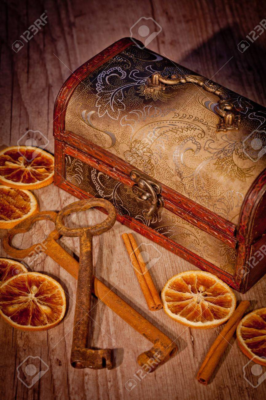 Vintage treasure chest with old metal keys Stock Photo - 10797059