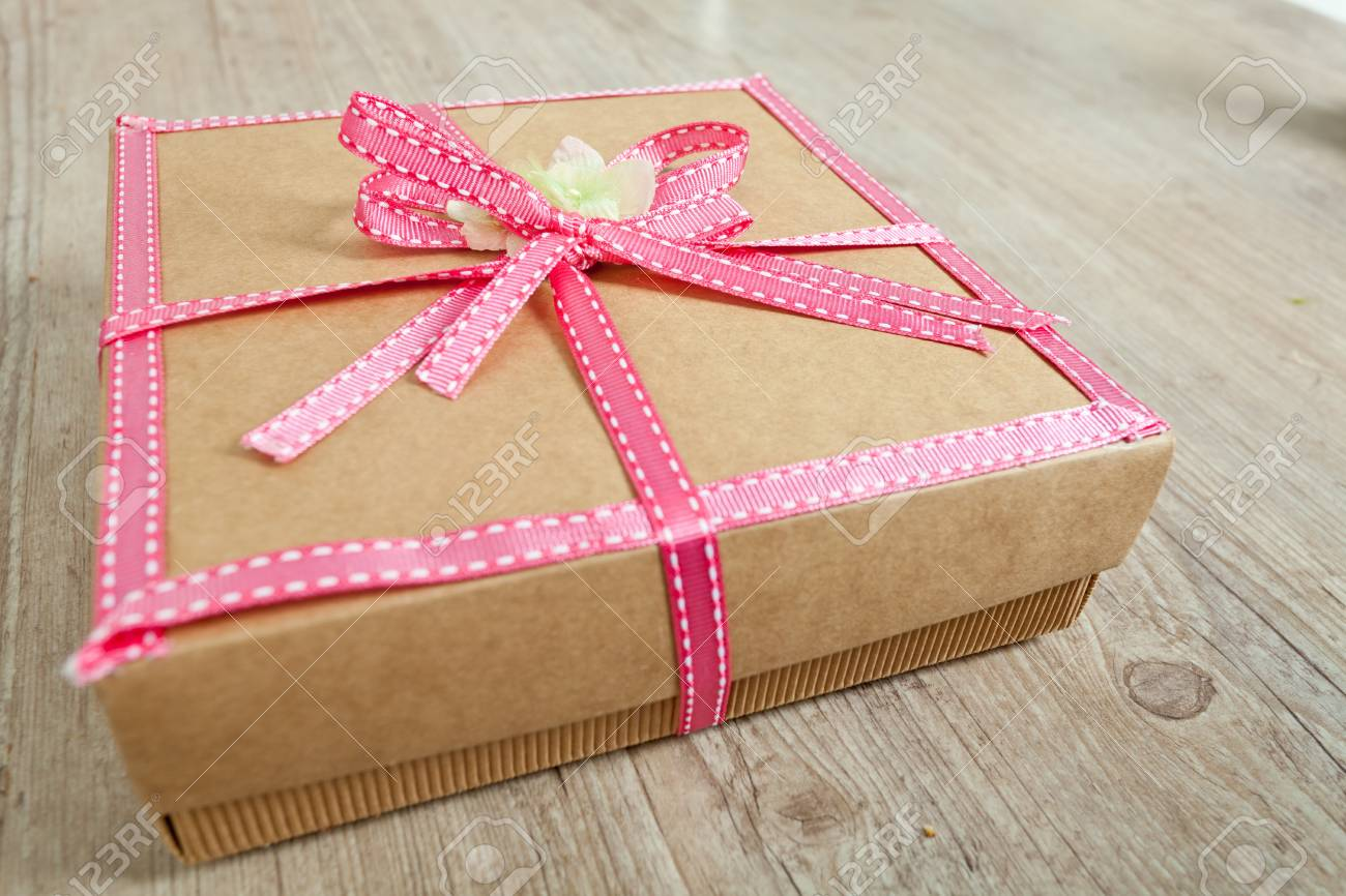 Cute Decorated Gift Pack For Present With Pink Ribbon Stock Photo ...