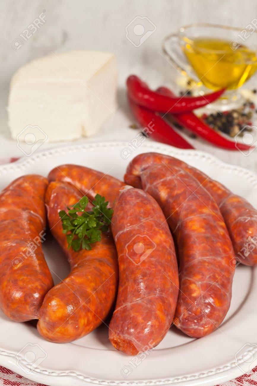 on sale 4fa54 67ca4 Fresh raw salchicha picante típica del sur de Italia