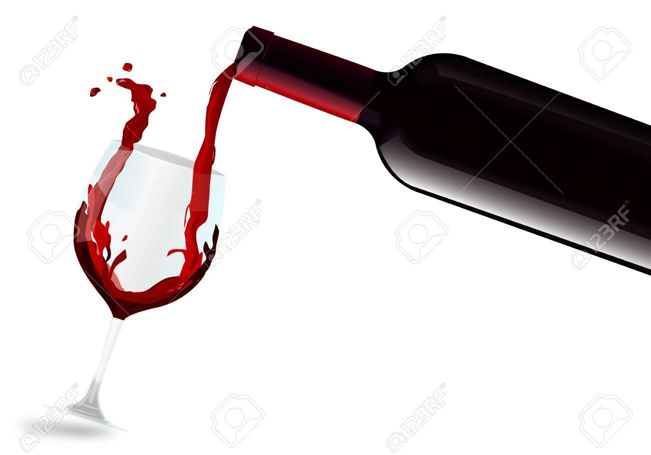 Red wine filling glass Stock Vector - 11639666