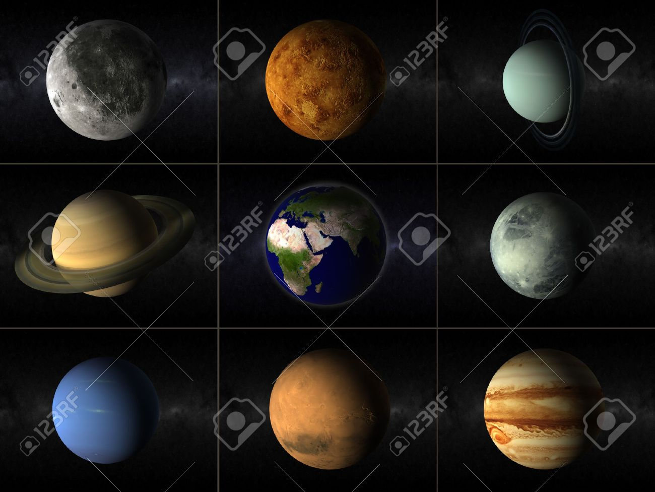 A Collage Of Different Planets Of The Solar System Including ...