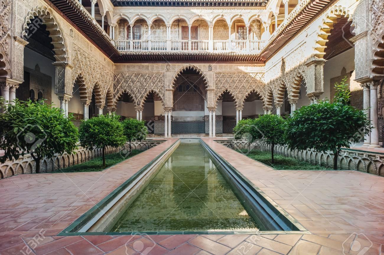 amazing example of the moorish architecture in seville stock photo