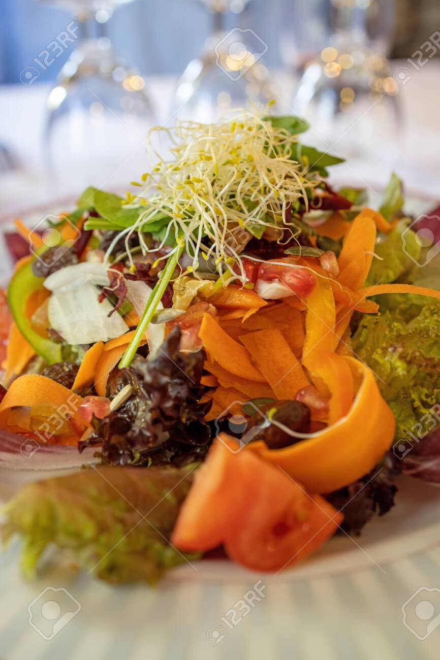 Delicious traditional Spanish mixed salad - 135157899