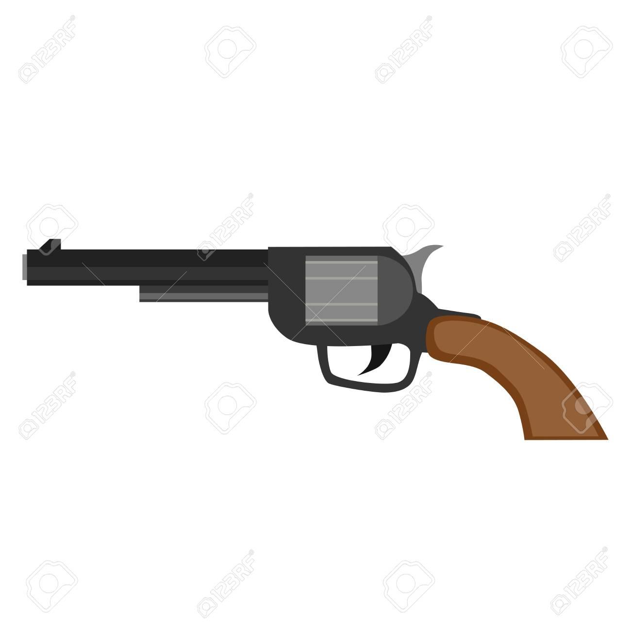 revolver gun pistol vector vintage handgun weapon illustration
