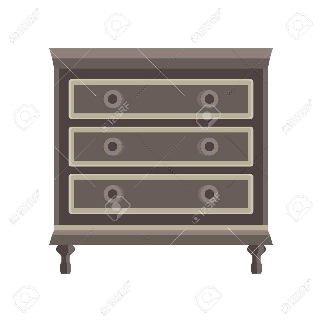 Drawer Dresser Vector Room Wardrobe Cartoon Isolated Flat Icon