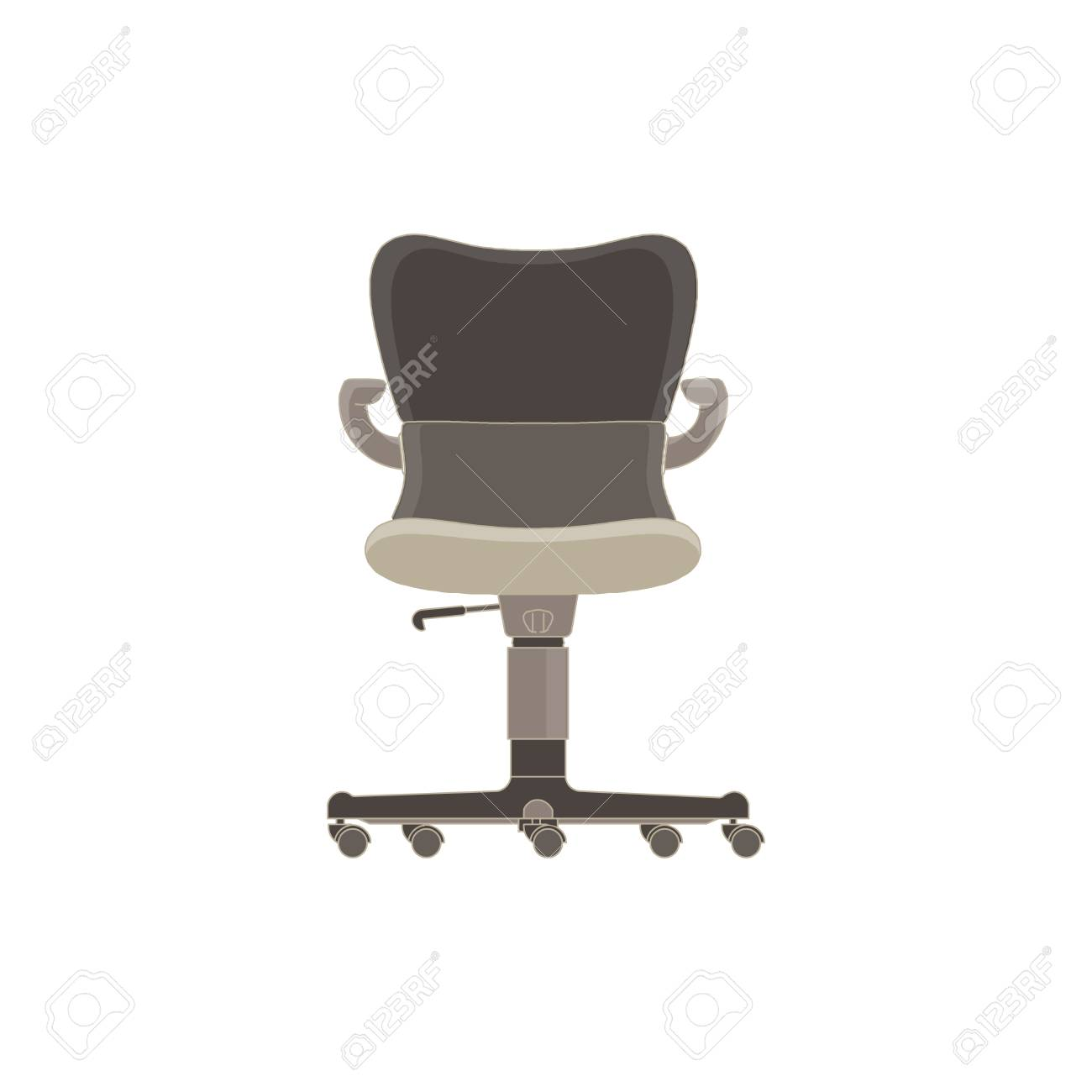 designer office desk isolated objects top view. Vector - Office Chair Flat Icon Isolated. Furniture Side View Illustration Design Style. Arm Armchair Black Boss Business Comfort. Designer Desk Isolated Objects Top A
