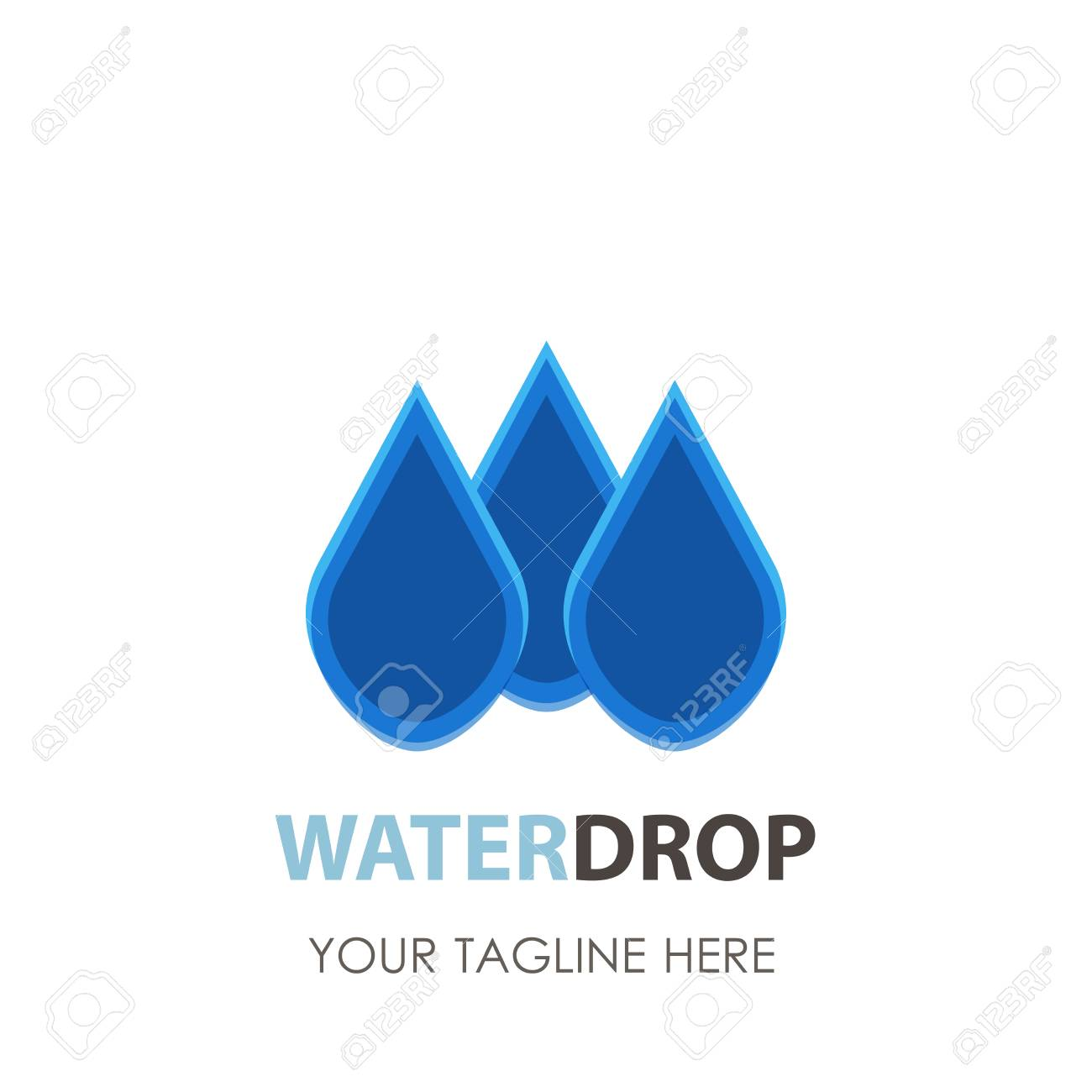 water drop logo vector icon design clean aqua blue symbol nature