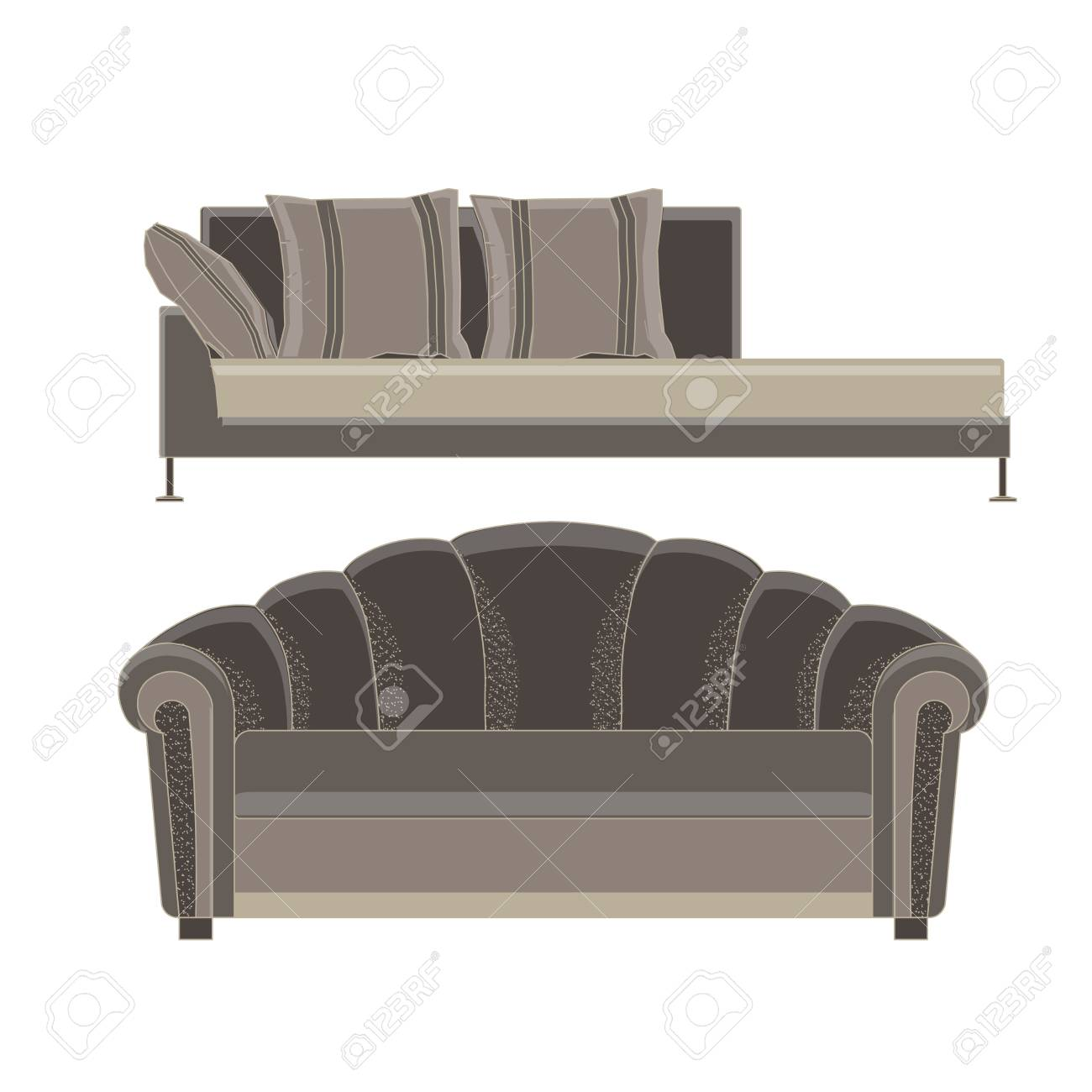 Sofa Set Furniture Vector Room Interior Living Illustration Chair