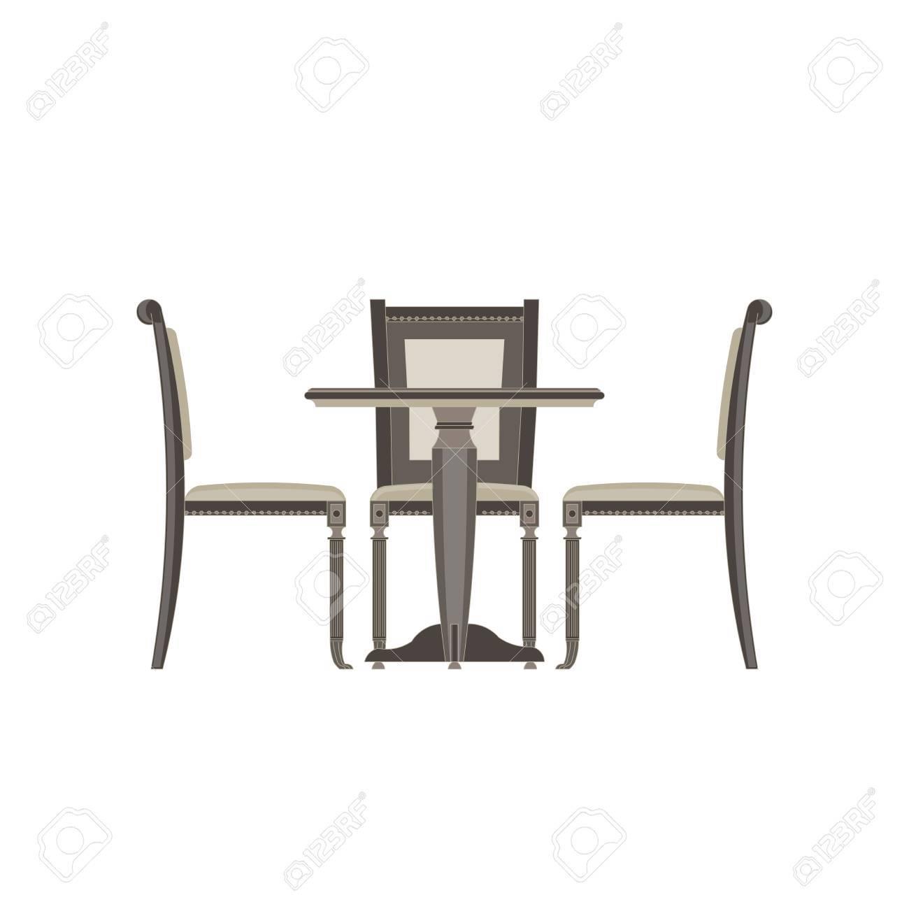 Icone De Vecteur Table Chaise Deux Plat Isole Illustration Vue