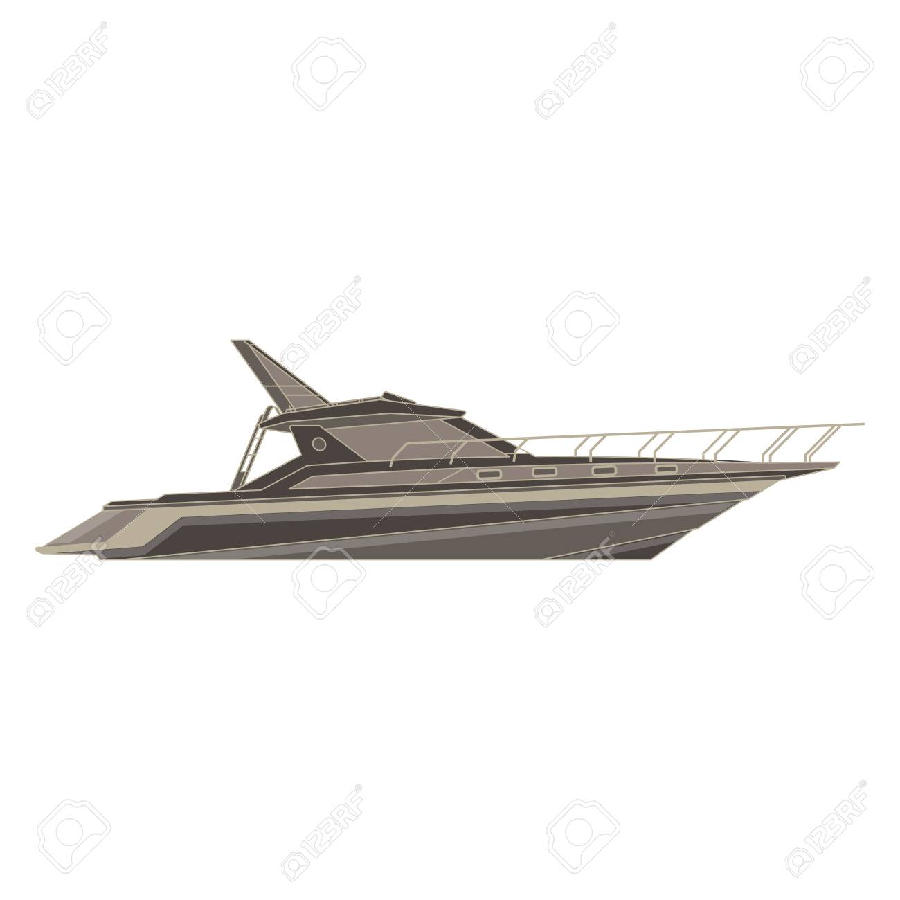 Vector Yacht Flat Icon Isolated Boat Side View Cruise Ship Design