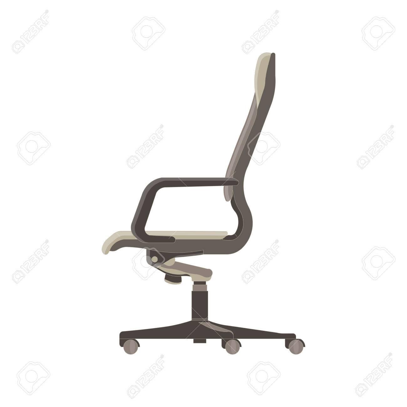Gentil Furniture Side View Illustration Design Style. Arm Armchair Black Boss  Business Comfort. Element Empty Ergonomic Shape Office Silhouette Seat  Symbol. White.