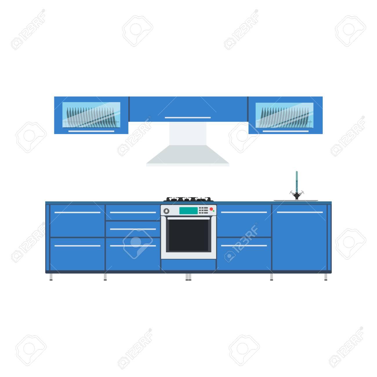 Cuisine Design Vector Illustration Interieur Moderne Cuisine Menu Meubles Cuisine Style Graphique De Dessin En Arriere Plan