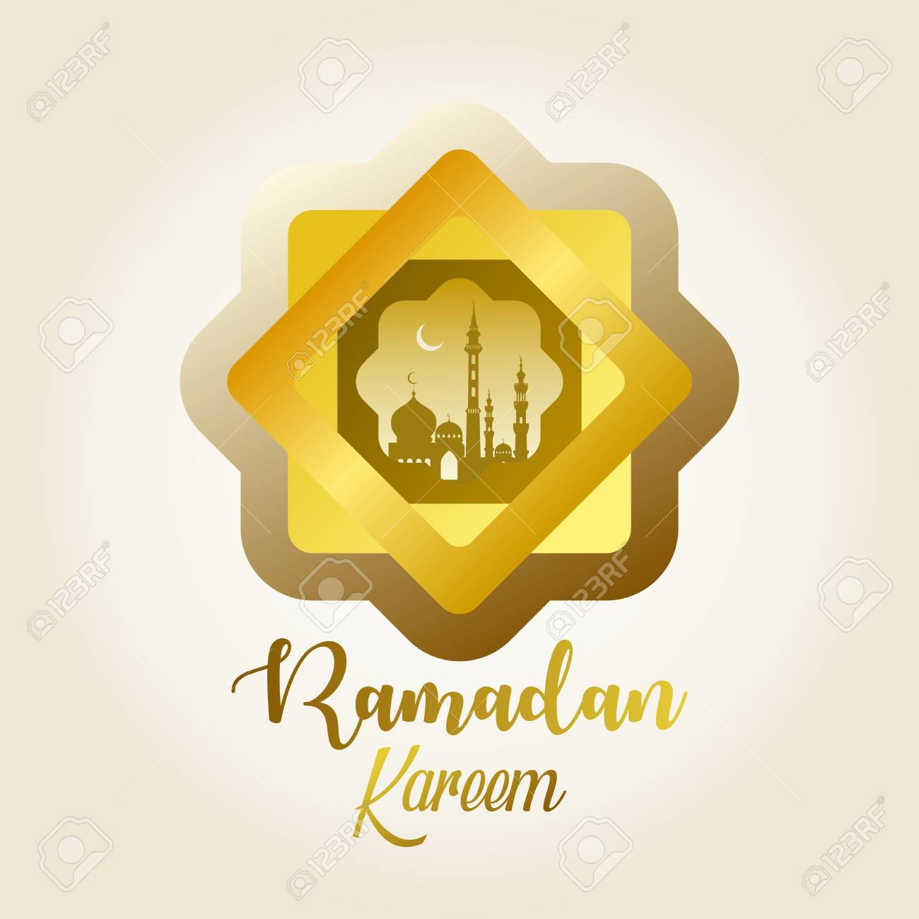 Ramadan Kareem background design template with star shape, moon,