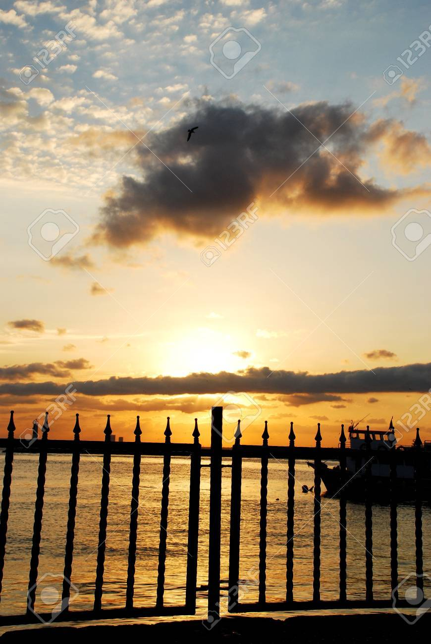 Sunset  clouds sky with Barrier Stock Photo - 16660493