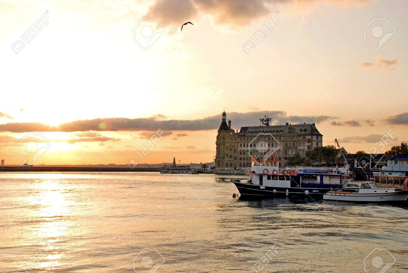 sunset and Haydarpasa Railway Station building,  istanbul, Turkey Stock Photo - 16743753