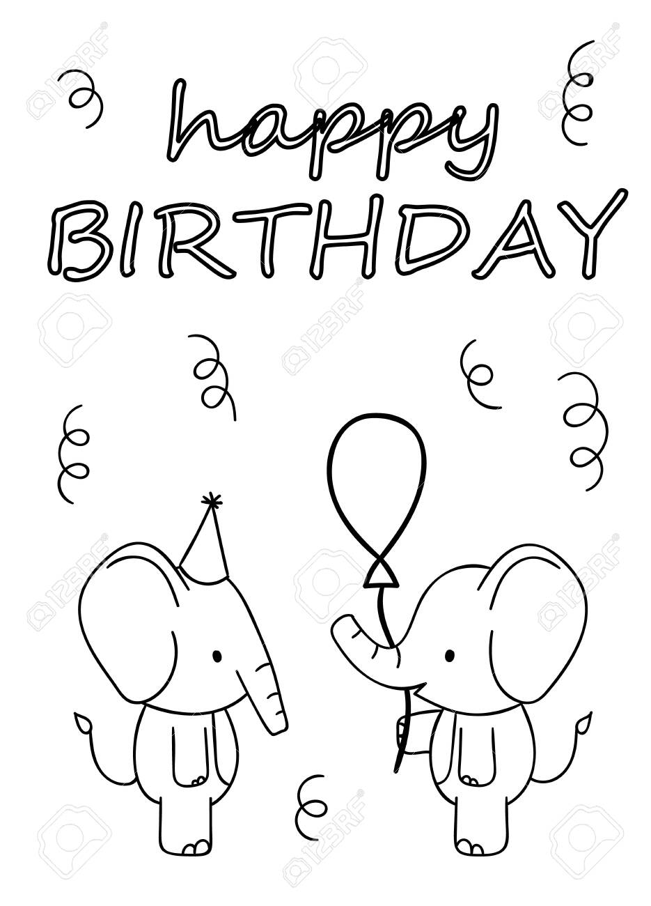 Coloring pages, black and white cute hand drawn elephant with..