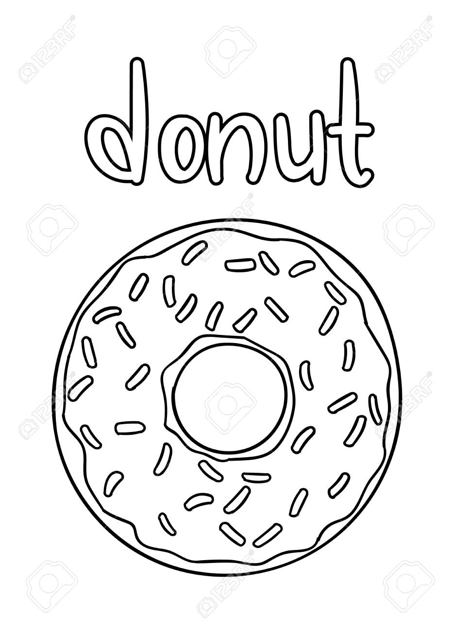 Coloring Pages Black And White Cute Hand Drawn Donut Doodles Royalty Free Cliparts Vectors And Stock Illustration Image 142344968