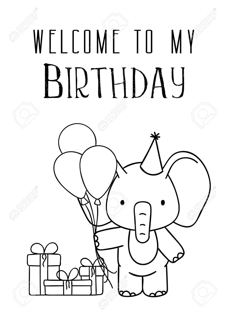 Cute Cartoon Elephant coloring page | Free Printable Coloring Pages | 1300x935