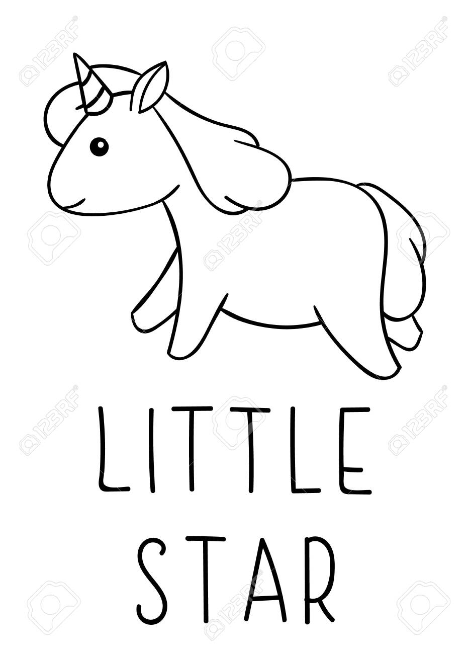 Coloring Pages Black And White Cute Kawaii Hand Drawn Unicorn Royalty Free Cliparts Vectors And Stock Illustration Image 144033599