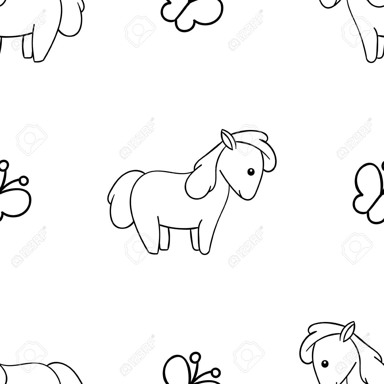 Seamless Pattern Black And White Cute Hand Drawn Horse Doodle Royalty Free Cliparts Vectors And Stock Illustration Image 144305883
