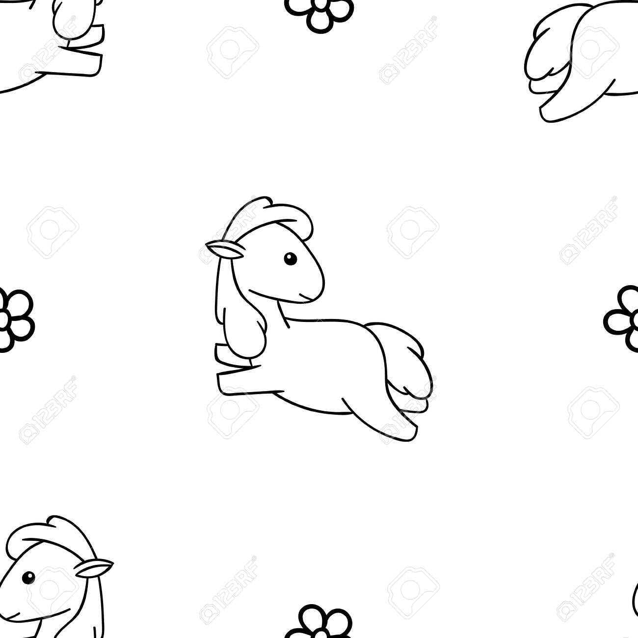 Seamless Pattern Black And White Cute Hand Drawn Horse Doodle Royalty Free Cliparts Vectors And Stock Illustration Image 144305880
