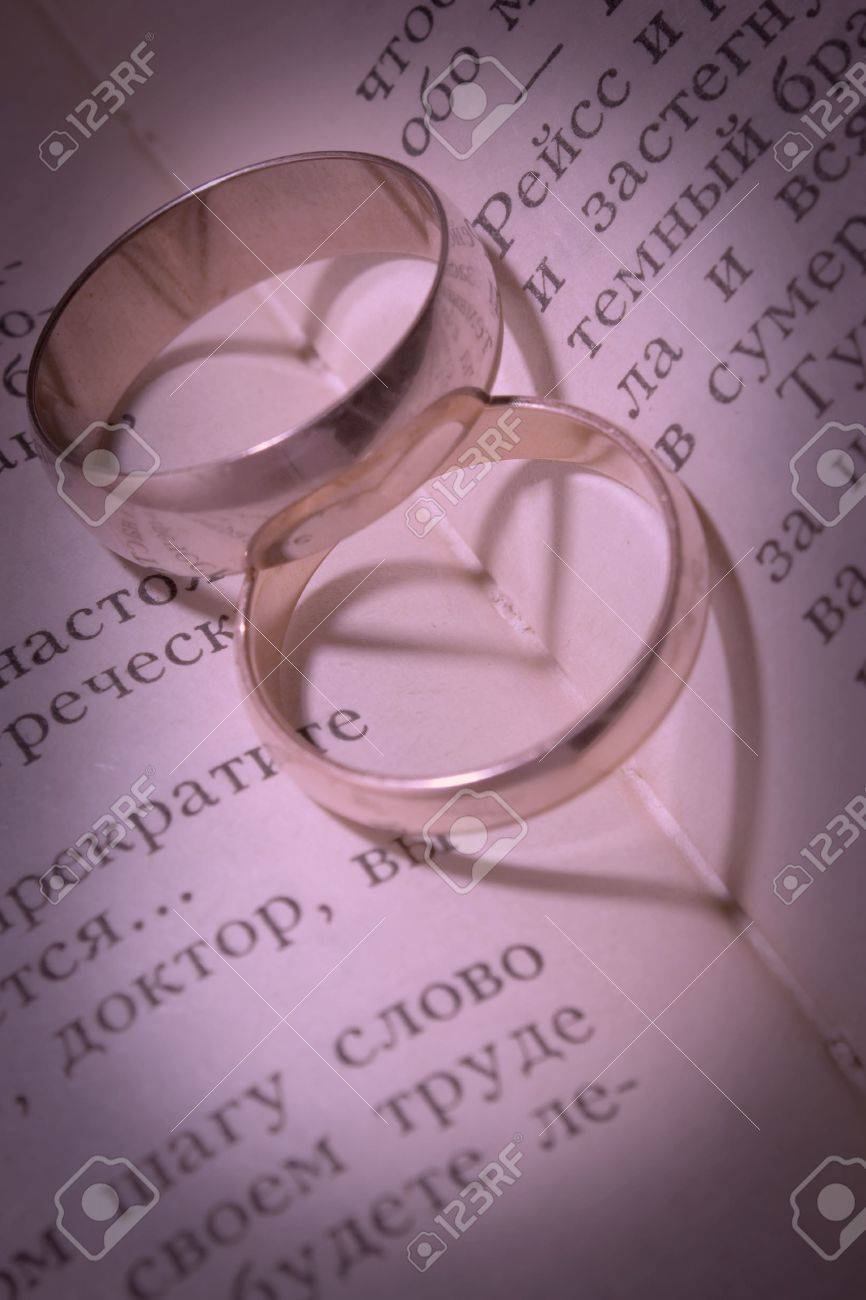 Shades In The Form Of Hearts From Two Wedding Rings Lying On.. Stock ...