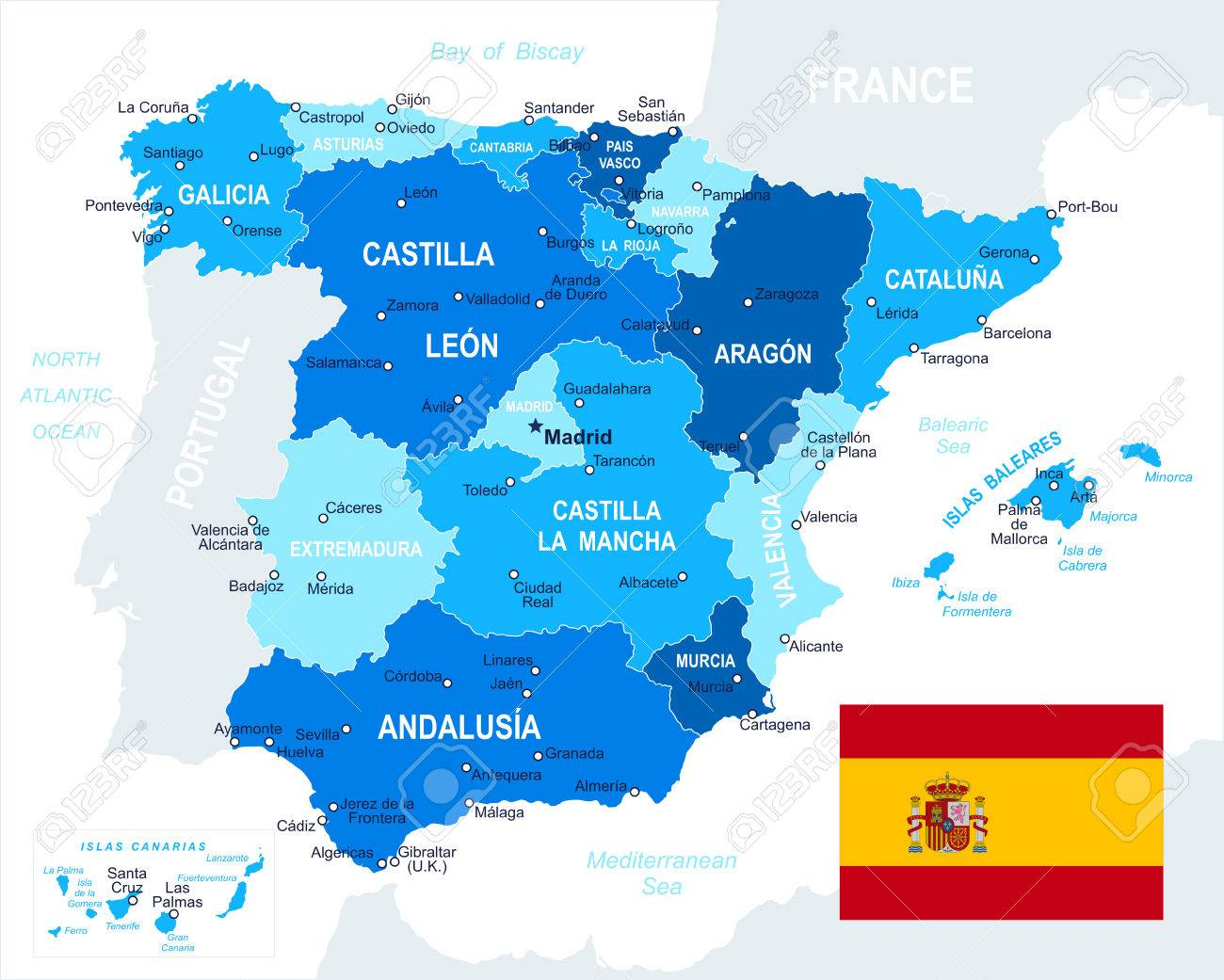 Spain map and flag highly detailed vector illustration - 41764854